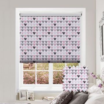 Love Heart Patterned Premium Blackout Roller Blind in Love Hearts